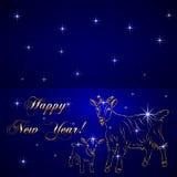 Dirigez le croquis des moutons, nouvelle année de symbole sur le bleu Photo stock