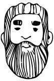 Dirigez le croquis du visage d'un mâle adulte avec une barbe Photos libres de droits