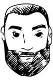 Dirigez le croquis du visage d'un mâle adulte avec une barbe Images libres de droits