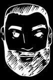 Dirigez le croquis du visage d'un mâle adulte avec une barbe Image libre de droits