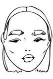 Dirigez le croquis du visage d'une belle jeune fille Image libre de droits