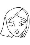 Dirigez le croquis du visage d'une belle jeune fille Images stock