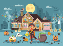 Dirigez le des bonbons ou un sort d'enfant de personnage de dessin animé de bannière d'illustration, costumes de garçon, robes de illustration stock