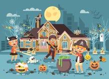Dirigez le des bonbons ou un sort d'enfant de personnage de dessin animé de brochure de bannière d'illustration, pirate de Viking Photos stock