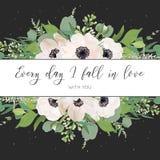 Dirigez le design de carte floral avec la lumière d'aquarelle, anémones roses, feuilles d'eucalyptus, fleurs lilas blanches, herb Image stock