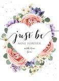 Dirigez le design de carte floral avec le rose de jardin de lavande d'aquarelle r illustration de vecteur