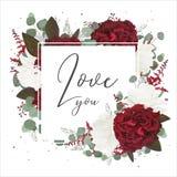 Dirigez le design de carte floral de salutation avec le jardin rouge et blanc ROS illustration stock