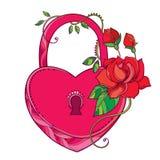 Dirigez le dessin du coeur de serrure dans le rose avec les roses fleuries et la feuille verte d'isolement sur le fond blanc Images stock
