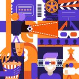 Dirigez le dessin géométrique plat pour le thème de cinéma, de film et de divertissement Concept pour l'affiche, billet d'entrée, Illustration Libre de Droits