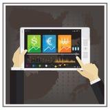 Dirigez le diagramme en ligne d'actions d'affaires de noir financier de calculateur numérique dessus Images stock