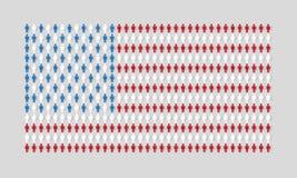 Dirigez le drapeau américain avec la texture de beaucoup de figurines d'homme Images libres de droits