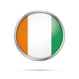 Dirigez le drapeau de la Côte d'Ivoire dans le style en verre de bouton Photo libre de droits