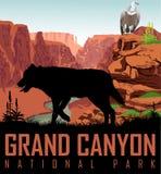Dirigez le fleuve Colorado en parc national de Grand Canyon avec le vautour de griffon de loup et de condor Images libres de droits