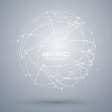Dirigez le fond abstrait avec le point et la courbe a construit le wireframe de sphère Images libres de droits