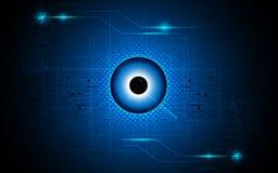Dirigez le fond abstrait de concept du sci fi de technologie de vision de foyer d'oeil Photo libre de droits
