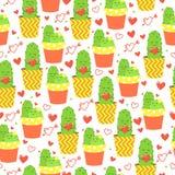Dirigez le fond avec le beaux cactus, coeurs et flèche Jour heureux du `s de Valentine Photographie stock libre de droits