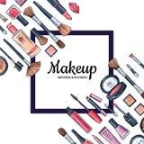 Dirigez le fond avec le cadre et le placez pour le texte avec les produits de maquillage tirés par la main pour l'industrie de be Photos stock