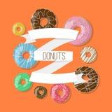 Dirigez le fond avec l'illustration de butées toriques et les rubans sur le fond orange Bannière de beignet dans le style de band Image libre de droits