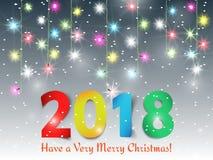 Dirigez le fond avec la guirlande de Noël, le fond 2018 de bonne année Illustration Libre de Droits