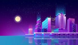 Dirigez le fond avec la ville de nuit dans les lampes au néon illustration de vecteur