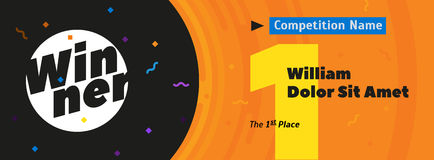 Dirigez le fond avec le nombre d'or 1, endroit des textes le 1er, l'espace pour le nom de gagnant et le titre de concurrence illustration libre de droits