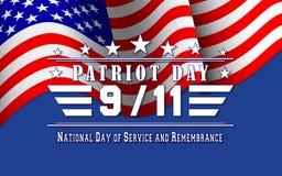 Dirigez le fond de jour de patriote avec le drapeau et le lettrage des USA Calibre pour le jour national du service et du souveni Images libres de droits