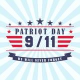 Dirigez le fond de jour de patriote avec les étoiles, le ruban et le lettrage Calibre pour le jour de patriote 11 septembre Photos stock