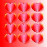 Dirigez le fond de jour du ` s de Valentine de jour de valentines, carte, la carte postale, papier peint avec douze coeurs ; diri Photo stock