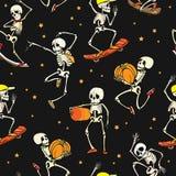 Dirigez le fond de modèle de répétition de Haloween de squelettes de danse et de skateboarding Grand pour le tissu orienté de par Photo libre de droits