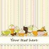 Dirigez le fond de nourriture avec les bonbons, la glace, le gâteau et le café Photographie stock libre de droits