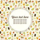 Dirigez le fond de nourriture avec les bonbons, la glace, le gâteau et le café Photos stock