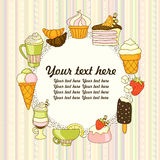 Dirigez le fond de nourriture avec les bonbons, la glace, le gâteau et le café Photo libre de droits