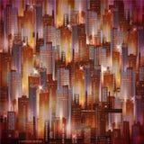 Dirigez le fond de ville de nuit de vue aérienne avec les lumières rougeoyantes Illustration de vecteur Photos libres de droits