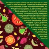 Dirigez le fond des écrimages pour des pizzas dans le style plat Part diagonalement Images libres de droits