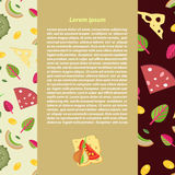 Dirigez le fond des écrimages pour la pizza dans un style plat Images libres de droits