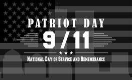 Dirigez le fond foncé de jour de patriote avec le jour national du lettrage de service et de souvenir Calibre pour le 11 septembr Images libres de droits