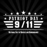 Dirigez le fond foncé de jour de patriote avec 9 11 marquant avec des lettres Calibre pour le jour national du service et du souv Image stock