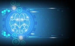 Dirigez le fond fonctionnant de système numérique de génie abstrait de cerveau illustration libre de droits