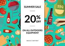 Dirigez le fond horizontal de vente d'éléments de barbecue ou de gril illustration libre de droits