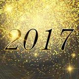 Dirigez le fond rougeoyant de lumières de nouvelle année et de néon lumineux de Noël 2017 avec des flocons de neige Carte postale Photo stock