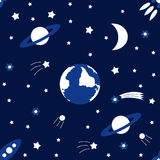Dirigez le fond sans couture au jour international de vacances du vol spatial humain Illustration pour la conception de célébrati Images stock