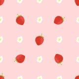Dirigez le fond sans couture de la fraise entouré avec des fleurs illustration stock