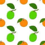 Dirigez le fond sans couture de modèle avec les chaux et les oranges tirées par la main dans le style de vintage Sur le blanc Uti illustration de vecteur