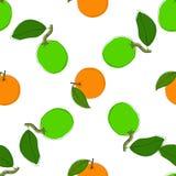 Dirigez le fond sans couture de modèle avec les chaux et les oranges tirées par la main dans le style de vintage Sur le blanc Uti illustration libre de droits