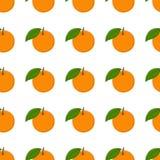 Dirigez le fond sans couture de modèle avec les oranges tirées par la main dans le style de vintage Sur le blanc illustration libre de droits