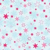 Dirigez le fond sans couture de modèle de christmass de flocons de neige de répétition tirée par la main bleu-clair et rose d'éto Images libres de droits