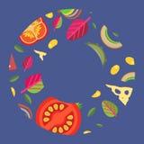Dirigez le fond sous forme de style plat d'anneau d'écrimages larges de pizza Photographie stock libre de droits