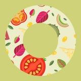 Dirigez le fond sous forme de style plat d'anneau d'écrimages larges de pizza Photos stock