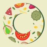 Dirigez le fond sous forme de style plat d'anneau d'écrimages larges de pizza Photo libre de droits