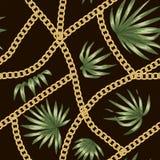 Dirigez le fond tropical avec les fleurs rouges de ketmie et la chaîne d'or illustration libre de droits